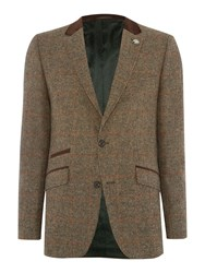 Simon Carter Orange Check Jacket Brown