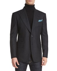 Tom Ford Windsor Base Small Check Sport Coat Charcoal