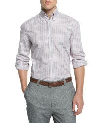 Brunello Cucinelli Bicolor Check Twill Long Sleeve Sport Shirt Red