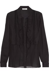 Sandro Cody Lace Trimmed Crepe And Washed Cotton Blouse Black