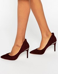 Ted Baker Saviy Suede Court Shoes Burgundy Suede Red