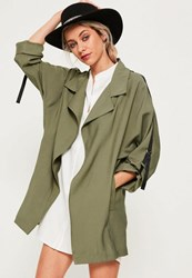 Missguided Khaki Tape Detail Waterfall Parka Coat