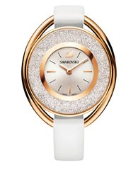 Swarovski 18K Rose Gold Plated Crystalline Oval Watch White