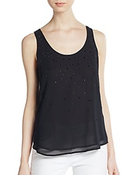French Connection Glitter Beaded Tank Black