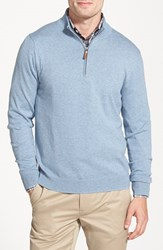 Men's Big And Tall Nordstrom Half Zip Cotton And Cashmere Pullover Blue Celestial Heather