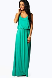 Boohoo Racer Back Maxi Dress Bright Green