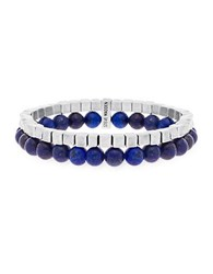 Steve Madden Silver Tone Stainless Steel Oxidized Cube And Lapis Bead Double Layered Stretch Bracelet Blue Silver