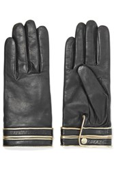 Agnelle Gisele Leather Gloves Black