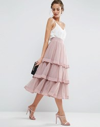 Asos Tulle Prom Skirt With Multi Layer And Trim Dawn Pink