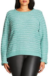 City Chic Plus Size Women's Back Zip Color Pop Sweater Seafoam