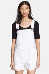 Each X Other Frayed Denim Short Overalls White