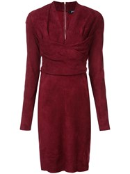 Jitrois Long Sleeve Fitted Dress Red