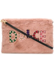 Dolce And Gabbana Embellished Logo Clutch Bag Pink And Purple