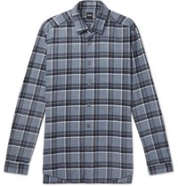Hugo Boss Checked Cotton Flannel Shirt Blue