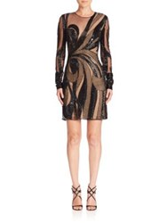 Naeem Khan Beaded Cutout Dress Black