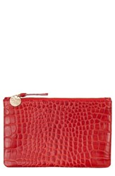 Clare V. Croc Embossed Leather Wallet Clutch Red Red Croco