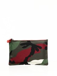 Valentino Camouflage Nylon Pouch Army Coral