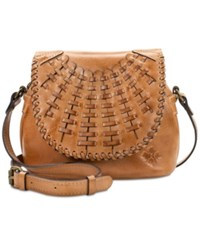 Patricia Nash Puccini Woven Flap Small Crossbody Light Brown