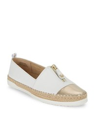 Anne Klein Leather Zip Up Espadrille Loafers White