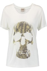 Haute Hippie Morning After Printed Modal Jersey T Shirt Ivory