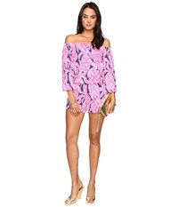 Lilly Pulitzer Lana Romper Bright Navy Coco Safari Women's Jumpsuit And Rompers One Piece Pink