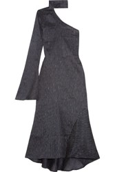 Beaufille Hydrus One Shoulder Pinstriped Linen Blend Midi Dress Navy