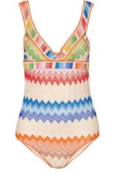 Missoni Mare Cutout Crochet Knit Swimsuit Pink