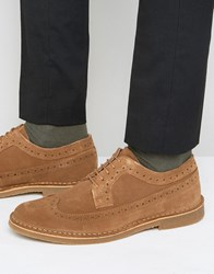 Selected Homme Royce Suede Brogue Shoes Brown