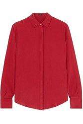 Joseph Edith Washed Silk Shirt Crimson