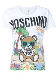 Moschino Swim Beach Print T Shirt White