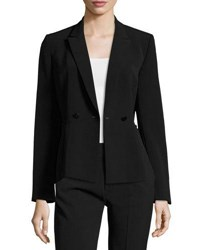 Draped Twill Double Breasted Blazer Black