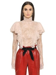Philosophy Di Lorenzo Serafini High Collar Ruffled Lace Top