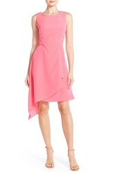 Women's Donna Ricco Asymmetrical Hem Fit And Flare Dress