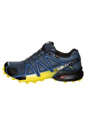 Salomon Speedcross 4 Gtx Trail Trail Running Shoes Slate Blue Blue Depth Corona Yellow Dark Blue