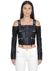 Diesel Black Gold Off The Shoulders Cropped Leather Jacket