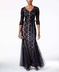 Alex Evenings Sequined Lace Mermaid Sash Gown Black Nude
