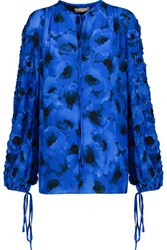 Michael Kors Collection Poppy Embroidered Printed Silk Blouse Blue