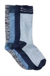 Lucky Brand Rib And Mark Crew Socks Pack Of 4 Blue