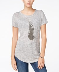 Fair Child Feather Graphic T Shirt Heather Grey