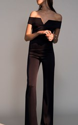 Galvan Satin Back Crepe Off The Shoulder Jumpsuit Black