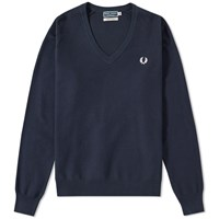 Fred Perry Pique V Neck Sweater Blue