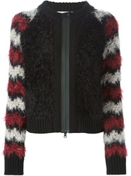 Mauro Grifoni Furry Striped Sleeve Cardigan Black
