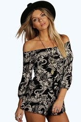 Boohoo Paisley Off The Shoulder Playsuits Multi