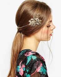 Asos Occasion Side Leaf Back Headband Gold