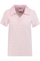 Maison Kitsune Aline Woven Cotton Blend Polo Shirt Pink