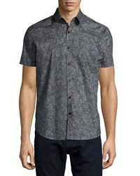 Theory Printed Short Sleeve Woven Shirt Gray