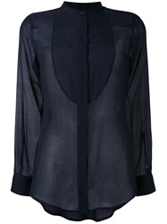 Alberto Biani Sheer Bib Shirt Women Silk Cotton 40 Blue