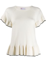 Red Valentino Frill Trim Top White