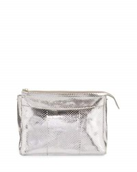 The Row Two For One Metallic Snakeskin Pouch Silver