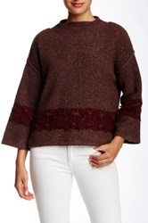 Twelfth St. By Cynthia Vincent Mock Neck Merino Wool Sweater Brown